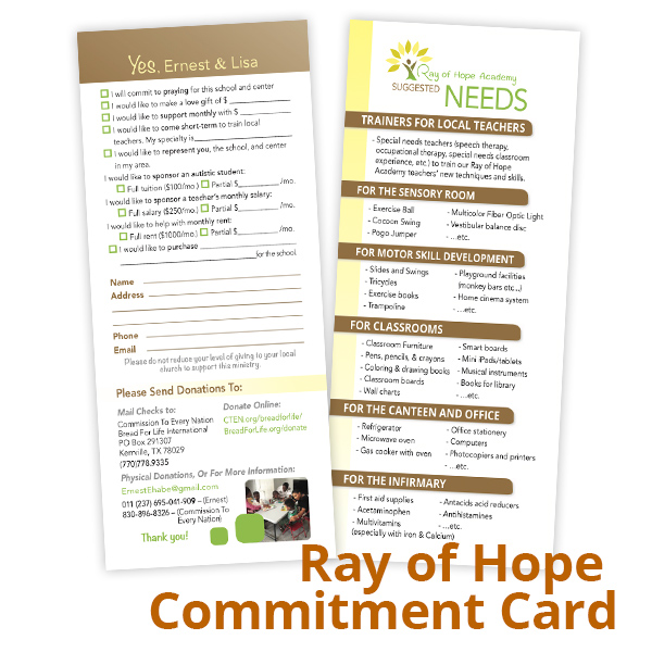 Ray of Hope Commitment Card