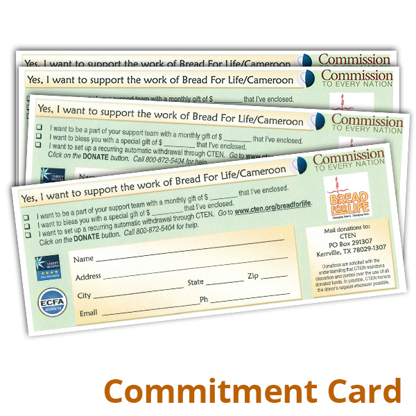 Bread For Life/CADAC Commitment Card