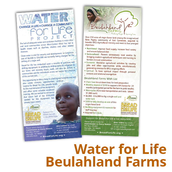 Water For Life/Beulahland Farms Rack Card
